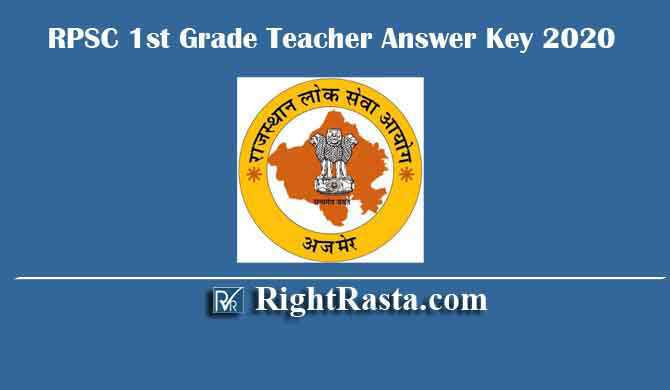 RPSC 1st Grade Teacher Answer Key 2020