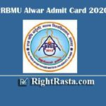 RRBMU Alwar Admit Card 2020 | Download Raj Rishi Bhartrihari Matsya University Mains Exam Permission Letter @ univindia.org/ALWARUNIV/maINpanel.php