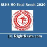 RUHS MO Final Result 2020 | Download Medical Officer Merit List PDF