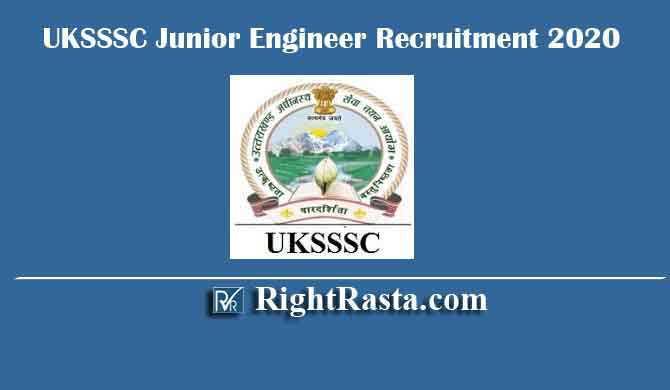 UKSSSC Junior Engineer Recruitment 2020