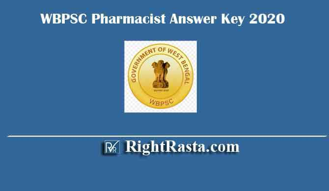 WBPSC Pharmacist Answer Key 2020