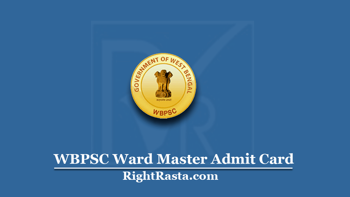 WBPSC Ward Master Admit Card