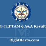 DRDO CEPTAM 9 A&A Result 2020 - Download Provisionally Shortlisted Candidates List
