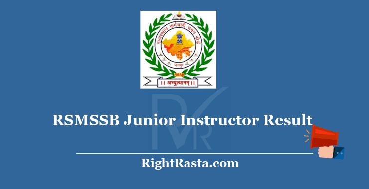RSMSSB Junior Instructor Result 2018