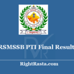 RSMSSB PTI Final Result 2018 - Download Rajasthan RSSB Physical Training Instructor 5th Merit List