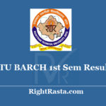 RTU BARCH 1st Sem Result 2020 - Download Rajasthan Technical University Kota B.Arch Results @ Esuvidha.info
