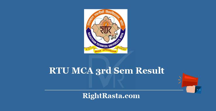 RTU MCA 3rd Sem Result 2020