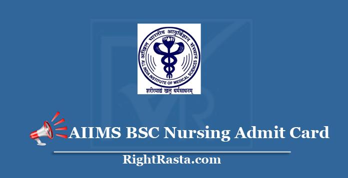 AIIMS BSC Nursing Admit Card 2020