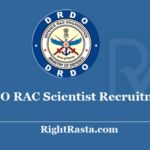 DRDO RAC Scientist B Recruitment 2020 - Apply Online Form for Through GATE Job