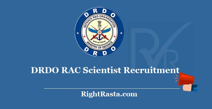 DRDO RAC Scientist Recruitment 2020