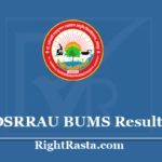 DSRRAU BUMS Result 2019 - Download Bachelor of Unani Medicine Results 2020