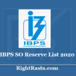 IBPS SO Reserve List 2020 - Download CRP VIII SPL Provisional Allotment