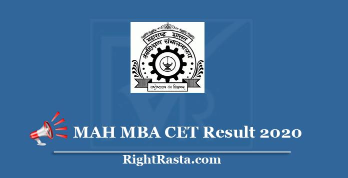 MAH MBA CET Result 2020