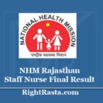 NHM Rajasthan Staff Nurse Final Result 2020 - Download Rajswasthya GNM Posting Order