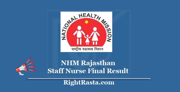 NHM Rajasthan Staff Nurse Final Result 2020