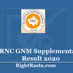 RNC GNM Supplementary Result 2020 - General Nursing & Midwifery 1st 2nd 3rd Results