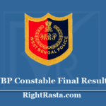 WBP Constable Final Result 2020 - Download West Bengal Police Main Exam Results