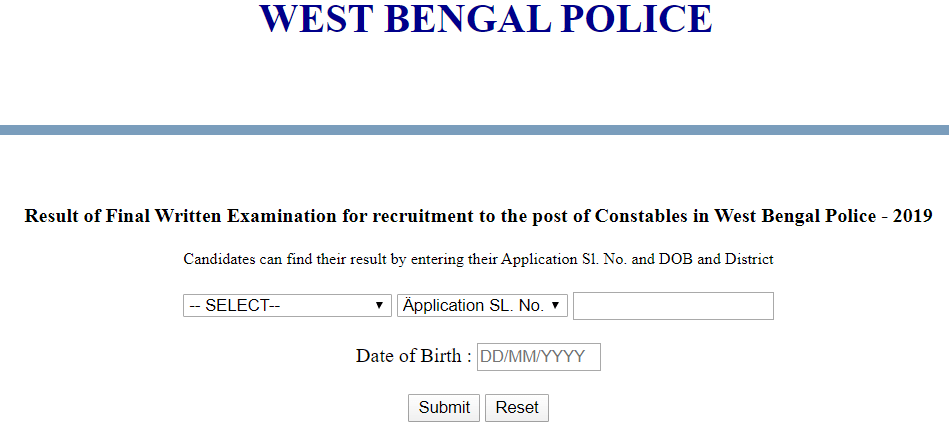 West Bengal Police Main Result