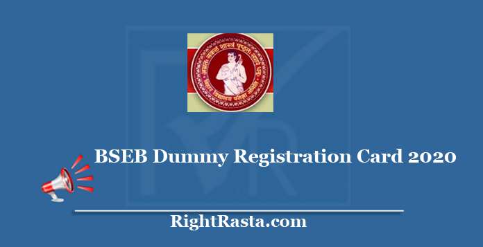 BSEB Dummy Registration Card 2020