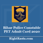 Bihar Police Constable PET Admit Card 2020 - CSBC Sipahi Physical Test PT Call Letter