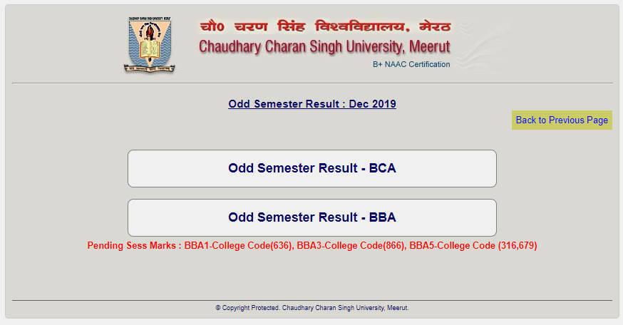 CCS BCA Result 2020