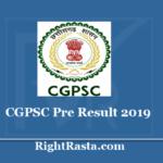 CGPSC Pre Result 2019 - Chhattisgarh State Service Prelims Exam Merit List PDF
