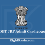 DBT JRF Admit Card 2020 - Download BET Entrance Exam Hall Ticket @ rcb.res.in