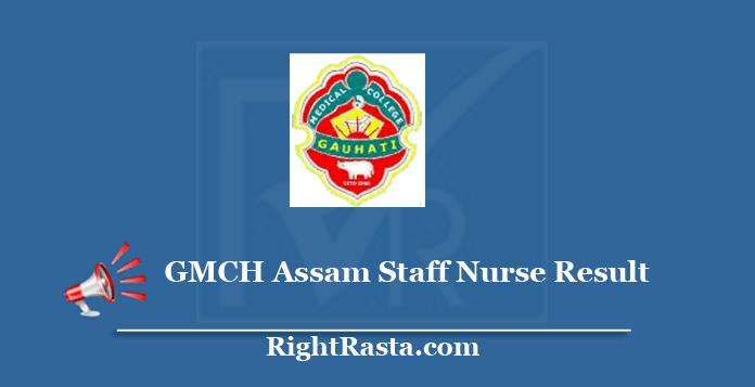 GMCH Assam Staff Nurse Result