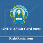 GNDU Admit Card 2020 - Guru Nanak Dev University Exam Hall Ticket www.gndu.ac.in
