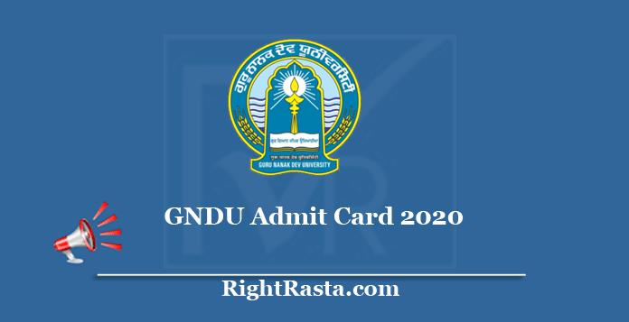 GNDU Admit Card