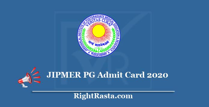 JIPMER PG Admit Card 2020