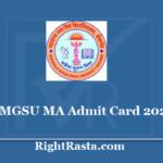 MGSU MA Admit Card 2020 - Download Bikaner University PG Hall Ticket