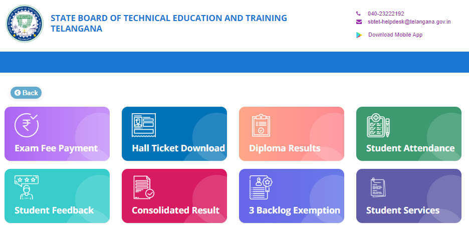SBTET Diploma Hall Tickets Download