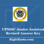UPSSSC Junior Assistant Revised Answer Key 2020 - Download UP JA Final Key PDF