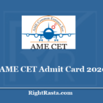 AME CET Admit Card 2020 - Aircraft Maintenance Engineering Common Entrance Test Hall Ticket