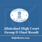 Allahabad High Court Group D Final Result 2020 - Download AHC Grade 4th Merit List