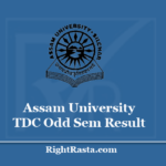 Assam University TDC Odd Sem Result 2020 - Download 1st, 3rd, 5th Semester Results