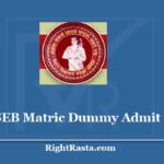 BSEB Matric Dummy Admit Card 2021 - Bihar Board 10th Registration Card 2020