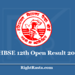 HBSE 12th Open Result 2020 - Download Haryana Board HOS Class 12 Results