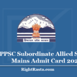 HPPSC Subordinate Allied Services Mains Admit Card 2020 - Download Mains Exam Hall Ticket