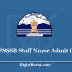 HPSSSB Staff Nurse Admit Card 2020 - Check Himachal Pradesh Post Code 747 Exam Updates