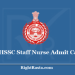 HSSC Staff Nurse Admit Card 2020 - Check Haryana 15/2019 Exam Updates
