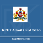KCET Admit Card 2020 - Download KEA Entrance Test Hall Ticket