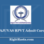 RAJUVAS RPVT Admit Card 2020 (Out) - Check Rajasthan Pre Veterinary Test
