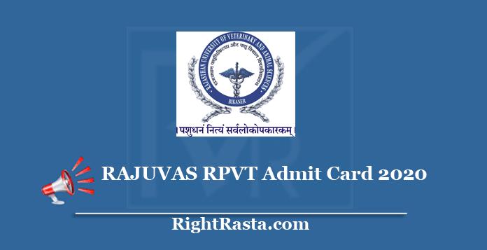 RAJUVAS RPVT Admit Card