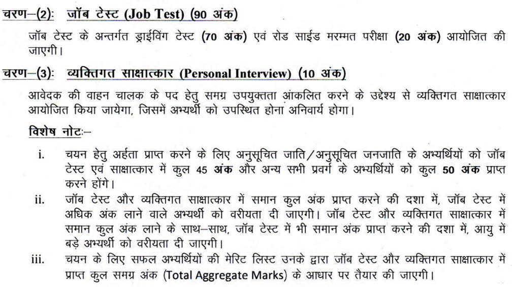 RHC Chauffeur Exam Pattern