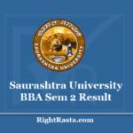 Saurashtra University BBA Sem 2 Result 2020 - SU B.B.A. 2nd Semester Results