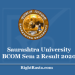 Saurashtra University BCOM Sem 2 Result 2020 - Download SU Semester 2nd Results