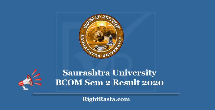 Saurashtra University BCOM Sem 2 Result