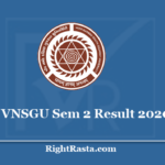 VNSGU Sem 2 Result 2020 - Veer Narmad South Gujarat University 2nd Semester Results